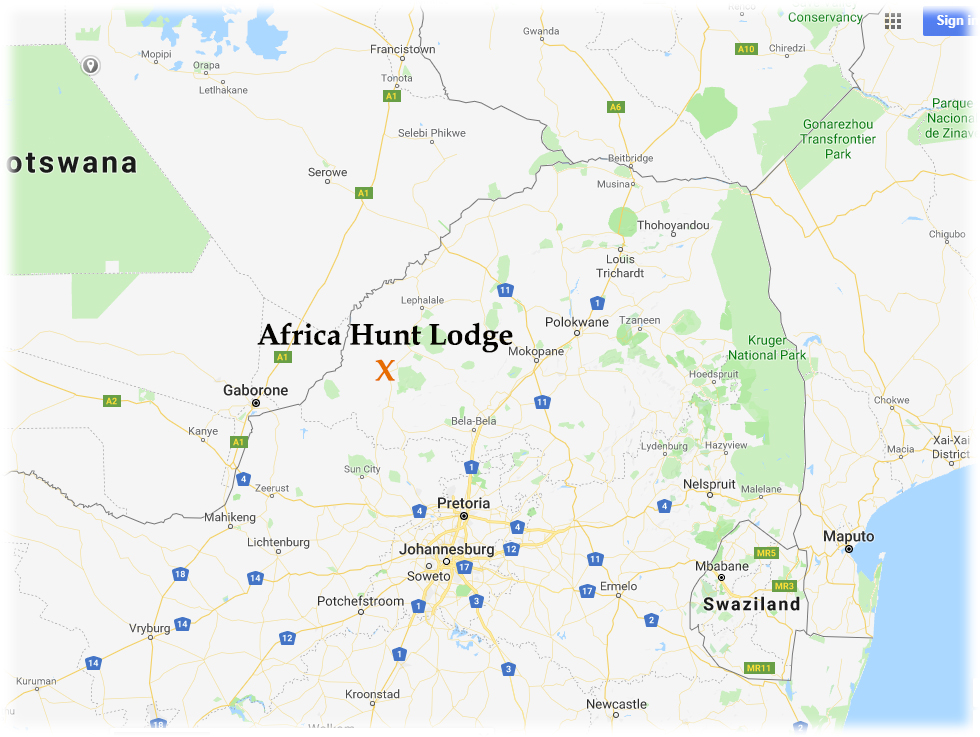 Map of Africa Hunt Lodge